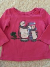 Childrens Place Girls Pink Thermal Penguins Glitter Long Sleeve Shirt 6-9 Months