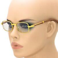 Fashion Vintage Wood Buffs Designer Eyeglasses Square Frame Clear Lens Glasses