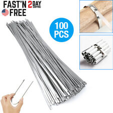 100pcs Stainless Steel Metal Cable Wire Zip Tie Wrap Self-Locking 11.81' inch