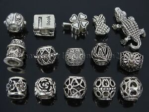 Tibetan Silver Big Hole Connector Metal Spacer European Charm Beads Findings #4