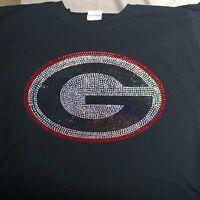 Women's Georgia Bulldogs G spangle Rhinestone Football V-neck T Shirt Lady