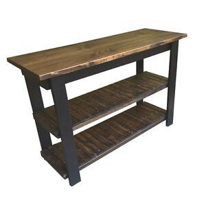 Dark Walnut / Black Kitchen Island Work Space / Kitchen Storage / Bakers Table /