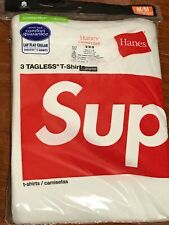 SUPREME HANES WHITE TAGLESS T-SHIRTS PACK OF 3 Medium/100% AUTHENTIC NEW*