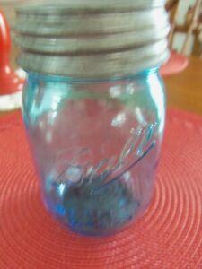 Vintage-inspired Blue 100th Anniversary Ball Pint Mason Jar 1913-1915
