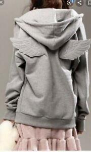 Jeremy Scott x Adidas Wings gray zip up fleece sweatshirt hoodie jacket top sz S