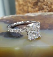 Genuine 1.70 Ct Cushion Cut Diamond Engagement Ring U-Set F,VS2 GIA 18K WG