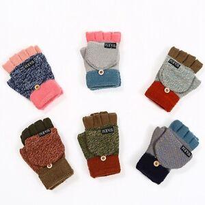 Boys Girls Knitted Gloves Cartoon 2 in 1 Fingerless Mittens Winter Warm Gloves