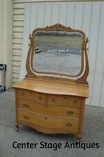60604 Antique Victorian Oak Dresser with Beveled Mirror