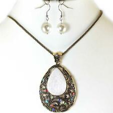 Antique Gold Cream Multi Color Stone Crystal Pendant Necklace Acrylic