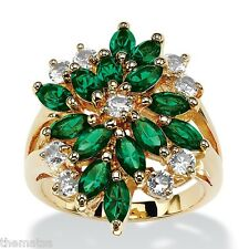MARQUISE EMERALD GREEN AND WHITE CRYSTAL CLUSTER 18K GOLD  RING SIZE 6 7 8 9 10
