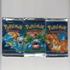 3 Pokemon Factory Sealed Base Set Booster Packs Unlimited Spanish Ultra Rare