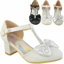 Girls Kids Childrens Low Block Heel Shoes Sandal Diamante Wedding Bridesmaid Bow