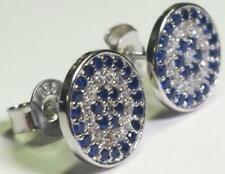 Sterling Silver 10mm Round Clear Blue cz Evil Eye Crystal cz Stud Earrings 925