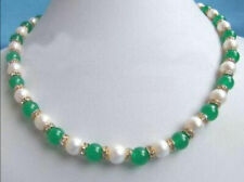 "Excellent Genuine White Pearl Green Jade Gemstone Rhinestone Necklace 18""AAA"
