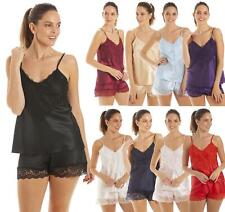 Womens Satin Lingerie Pyjamas Luxury Lace Camisole Cami & French Knickers PJs