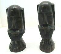 "8"" Set/Pair African Wood Carving Heads Bust Carved Folk Art Tribal Figures"