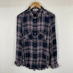 Just Jeans Womens Top 12 Blue Plaid Long Sleeve Collared Button Shirt