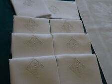9 belles serviettes de table, fil de lin, mono L F, anciennes