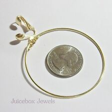 CLIP ON 2 inch GOLD PLATED Thin Lightweight Hoop Non-Pierced Earrings(G271)