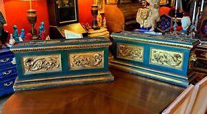 Rare Pair of Large 19th century Florentine Carved parcel Gilt Pedestals