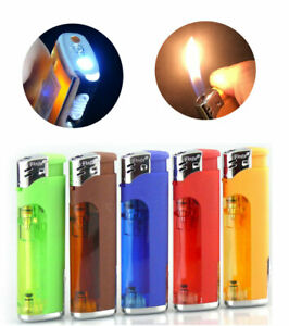 5-Flags Electronic Refillable Lighter Assorted Colors with WHITE LED Flashlight
