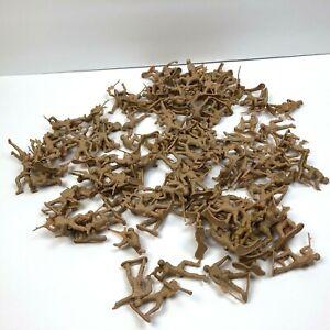 "Lot 100 Plus of Plastic Tan Beige Toy Soldiers Freestanding 1.5""  Army Men"
