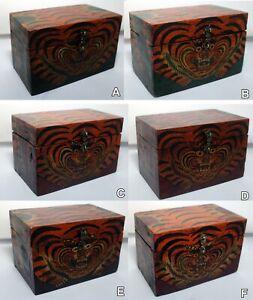 Decorative Trinket Box: Buddhist TIGER Nepal Tibet Tibetan storage Floral Buddha