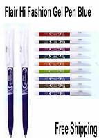 10 x Flair Hi-Fashion Assorted Colour Color Gel Pens 0.7 mm FINE Tip 10 colours