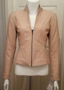 NEW Cathy Leather Jacket, Pure (Pink) - Size 36 by Cigno Nero