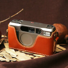 Leather Contax T2 Tan Brown with White Stitch Half Case - BRAND NEW