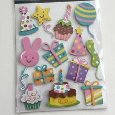 PARTY TIME 3D STICKER SHEET (13 STICKERS) GREAT FOR SCRAPBOOKING (NEW)
