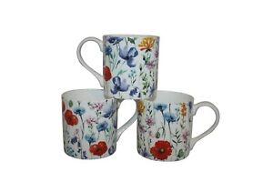 Rubyspoon Set of 3 'Wild Flower' Oversized Fine Bone China Mugs 425ml Gift Set