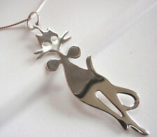 Well-Appointed Kitty Cat with Bow Tie Pendant 925 Sterling Silver Cat Lover Pet