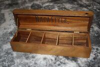"NapaStyle Acacia Wood Tea/Spice Box (14""x4""x3"") - Ships Free!"