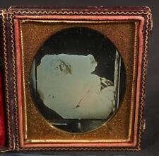 Antique Post Mortem, 1/6 Plate Daguerreotype of a Daguerreotype Photograph, NR