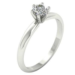 Solitaire Engagement Ring I1 G 0.30 Ct Round Diamond Six Prong 14K White Gold