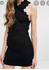 Alice McCall Knit Dress Size 6 Addicted to love Black Stretch Mini