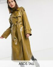 wet look glanz shiny vinyl pvc nylon plastic BIG coat Jacket  trench  XL  3XL
