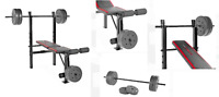 Weight Bench With Weights Set 100 Lb Bar Press Barbell Home Gym SALE