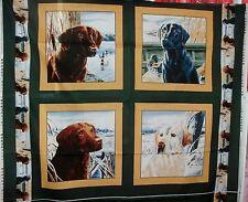 1 Yd Wildlife Pillow Panel Quilt Fabric Bird Hunting Dogs Retrievers Green