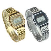 Unisex Women Men Stainless Steel LED Digital Alarm Sport Stopwatch Wrist Watch