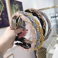 Women's Crystal Headband Hairband Twist Pearl Hair Band Hoop Accessories Party