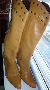 Moda In Pelle Tan Soft Leather Lovely Pull Up Boots Size 40, UK 7
