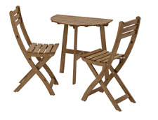 Ikea ASKHOLMEN Table wall with 2 fold chairs, outdoor, grey-brown - set