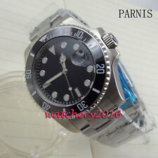 New 40mm parnis black Dial Luminous Sapphire Glass Automatic Movement mens Watch