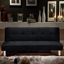 Divano letto 3 posti microfibra nero stile moderno reclinabile da soggiorno |8