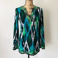 MICHAEL Michael Kors Women's Long Sleeve V-Neck Blouse Size XS Multicolor