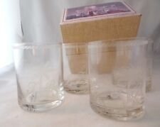 $88 NIB TOMMY BAHAMA (4) Etched Palm Double Old Fashioned Glasses