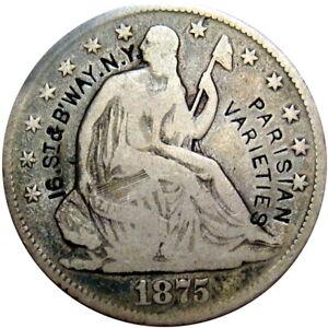 1875 New York City Counterstamp Half Dollar Parisian Varieties Burlesque Ladies