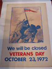 """1972 VETERAN'S DAY POSTER - 22"""" X 14"""" - POST OFFICE SIGN"""